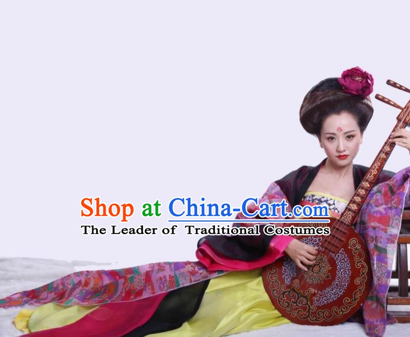 Chinese Ancient Tang Dynasty Courtesan Hanfu Dress Geisha Historical Costume for Women