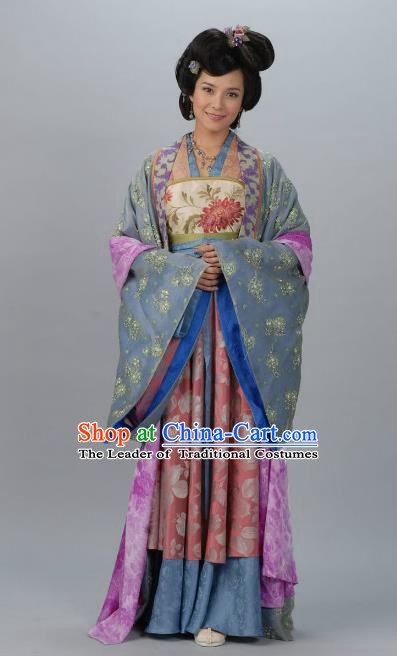 Chinese Ancient Tang Dynasty Dowager Hanfu Dress Historical Costume for Women