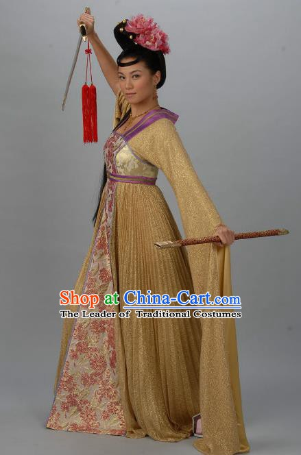 Chinese Ancient Tang Dynasty Swordswoman Daughter of Di Renjie Hanfu Dress Historical Costume for Women