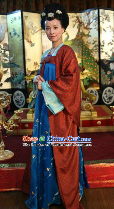 Chinese Ancient Tang Dynasty Imperial Consort Wu Zetian Embroidered Historical Costume for Women