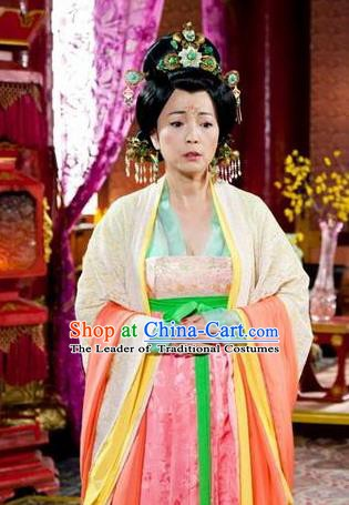 Chinese Ancient Tang Dynasty Princess Royal Ning Embroidered Dress Historical Costume for Women