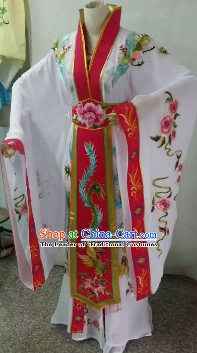 Top Grade Chinese Beijing Opera Diva White Dress China Peking Opera Empress Embroidered Costume