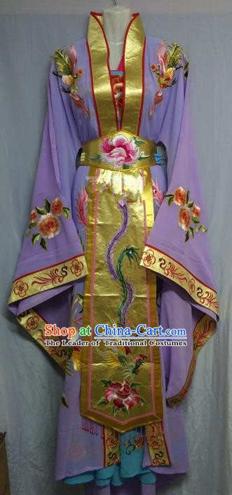 Top Grade Chinese Beijing Opera Diva Purple Dress China Peking Opera Empress Embroidered Costume