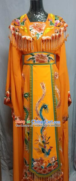 Top Grade Chinese Beijing Opera Diva Water Sleeve Orange Dress China Peking Opera Empress Embroidered Costume