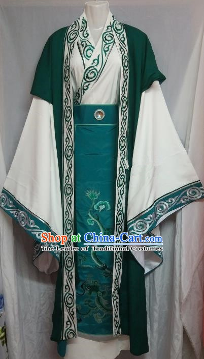 Chinese Beijing Opera Scholar Green Costume Peking Opera Niche Embroidery Robe for Adults
