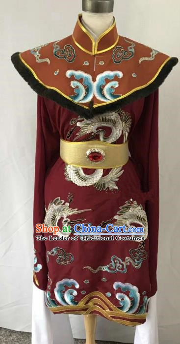 Top Grade Chinese Beijing Opera Martial Arts Female Wine Red Dress China Peking Opera Warrior Embroidered Costume