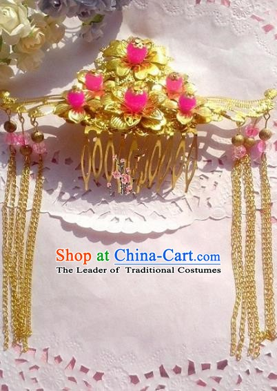 Chinese Ancient Princess Hair Accessories Tassel Hairpins Golden Hair Comb for Women