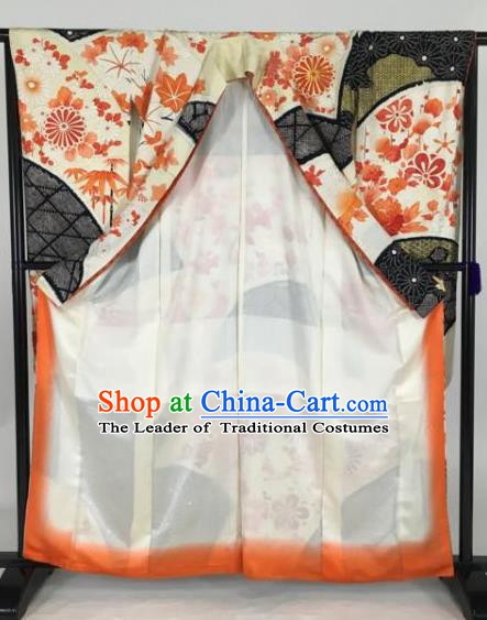 Japan Traditional Kimonos Empress Palace Furisode Kimono Ancient Yukata Dress Formal Costume for Women