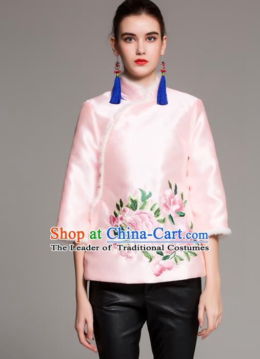 Chinese National Costume Traditional Embroidered Pink Blouse Silk Cotton-padded Coat for Women