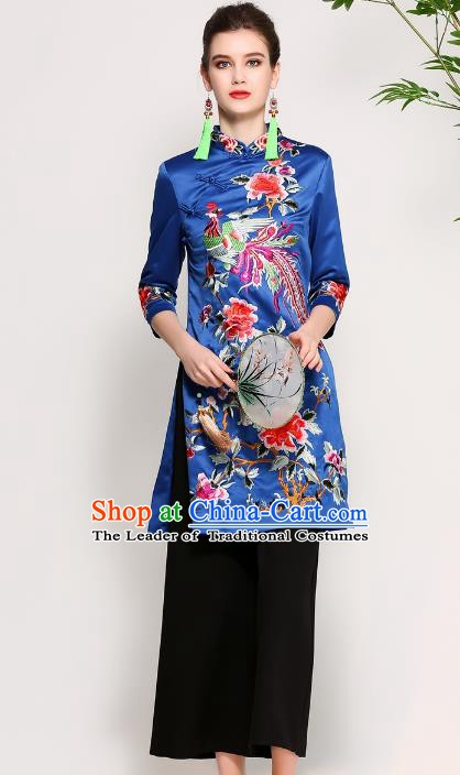 Chinese National Costume Embroidered Phoenix Peony Blue Qipao Dress Cheongsam for Women