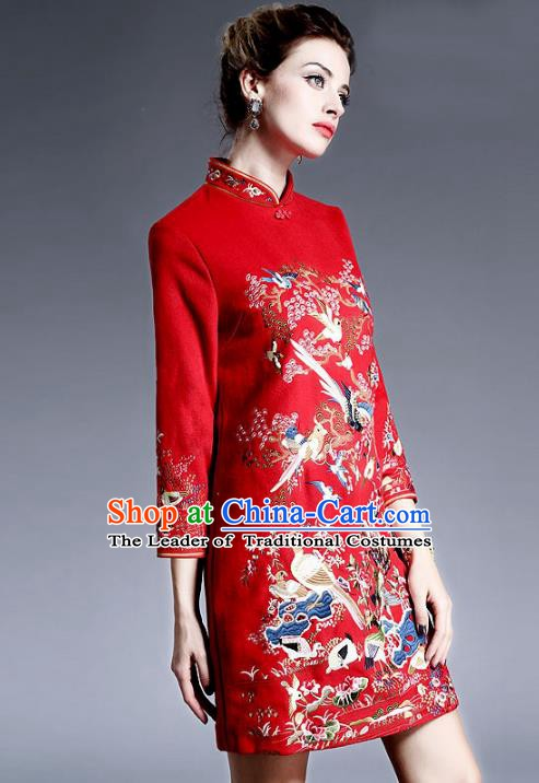 Chinese National Costume Embroidered Red Qipao Dress Stand Collar Cheongsam for Women