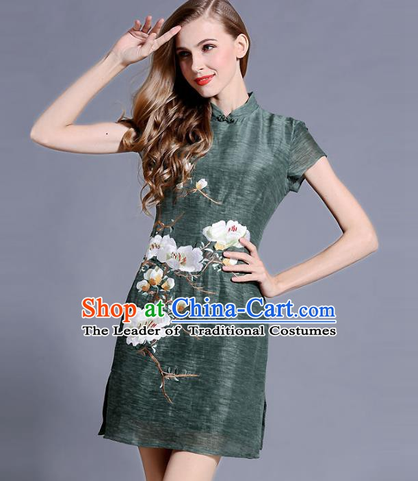 Chinese National Costume Embroidered Green Qipao Dress Stand Collar Cheongsam for Women
