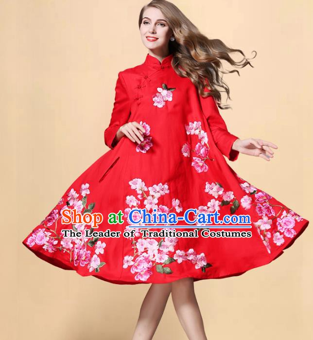 Chinese National Costume Embroidered Peach Blossom Red Qipao Dress Stand Collar Cheongsam for Women