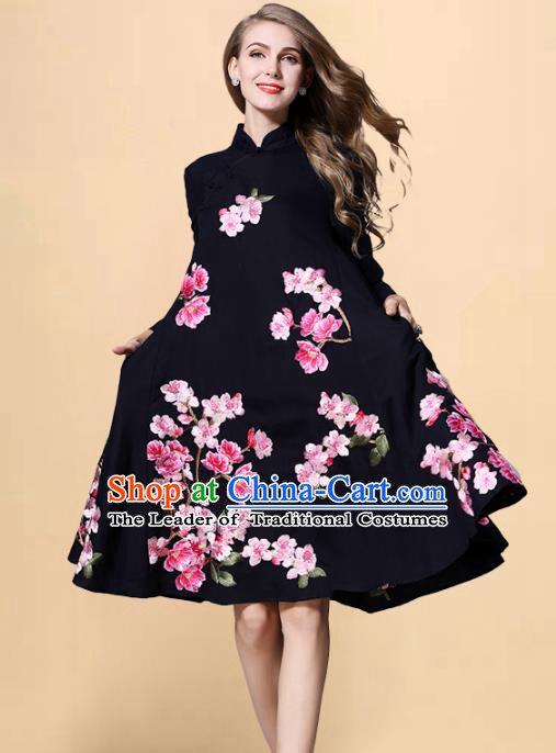 Chinese National Costume Embroidered Peach Blossom Navy Qipao Dress Stand Collar Cheongsam for Women