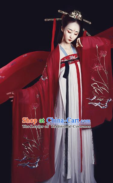 Chinese Ancient Tang Dynasty Imperial Concubine Embroidered Costume Traditional Hanfu Dress for Women