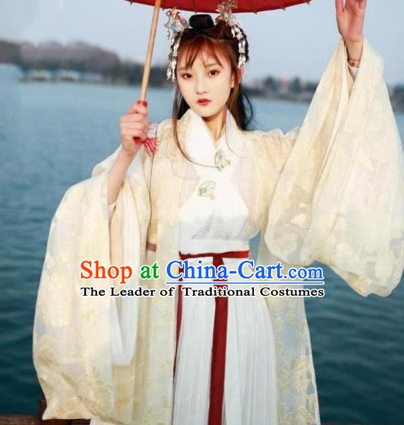 Chinese Jin Dynasty Princess Costume Ancient Fairy Embroidered Hanfu Dress for Women