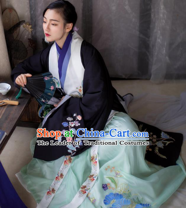 Chinese Ming Dynasty Nobility Lady Costume Ancient Princess Embroidered Hanfu Clothing Complete Set for Women