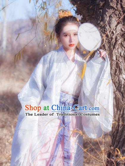Chinese Ancient Jin Dynasty Nobility Lady Embroidered Hanfu Costume Complete Set for Women