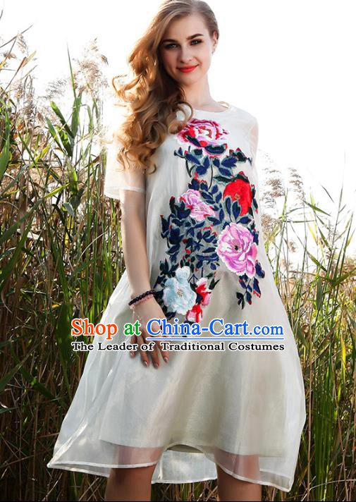 Chinese National Costume White Organza Cheongsam Embroidered Peony Qipao Dress for Women