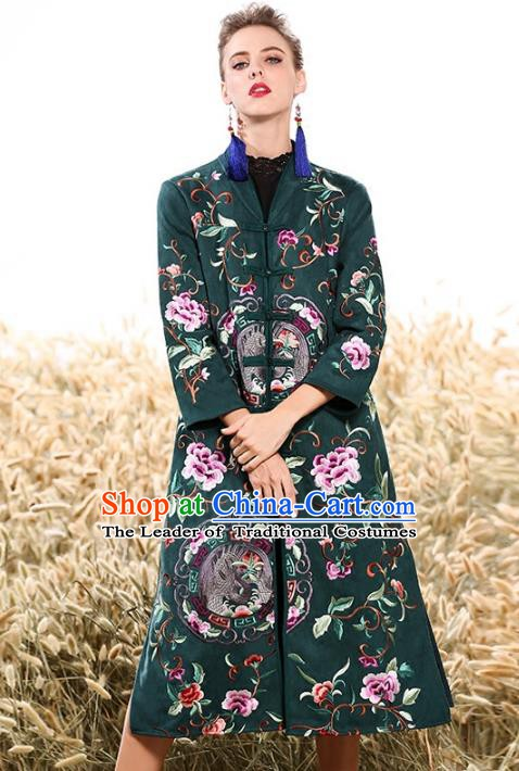 Chinese National Costume Plated Buttons Coats Traditional Embroidered Green Dust Coat for Women