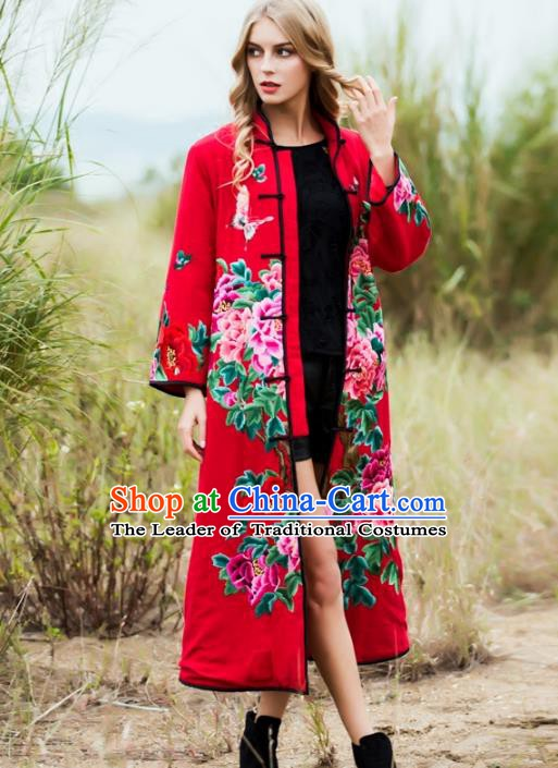 Chinese National Costume Tang Suit Coats Traditional Embroidered Peony Red Dust Coat for Women