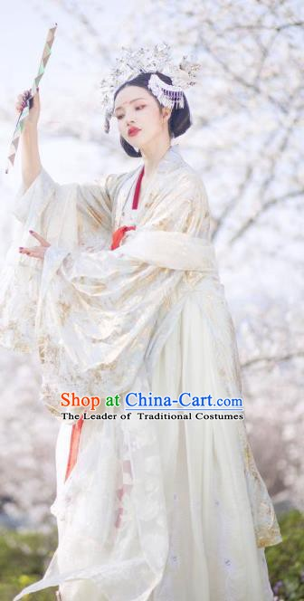 Chinese Ancient Imperial Concubine Tang Dynasty Palace Lady Embroidered Hanfu Dress Costumes for Women