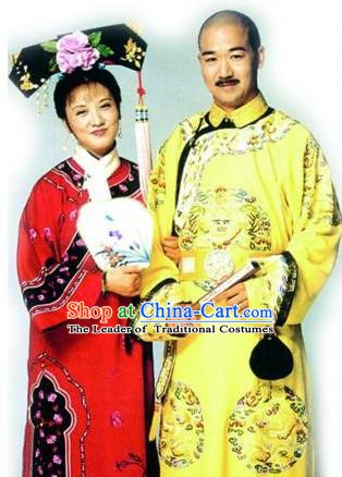 Chinese Traditional Historical Costume China Qing Dynasty Kangxi Emperor and Consort Yi Embroidered Clothing