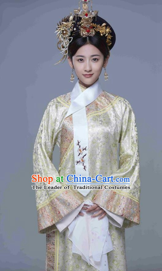 Chinese Ancient Yongzheng Imperial Concubine Historical Replica Costume China Qing Dynasty Manchu Lady Embroidered Clothing