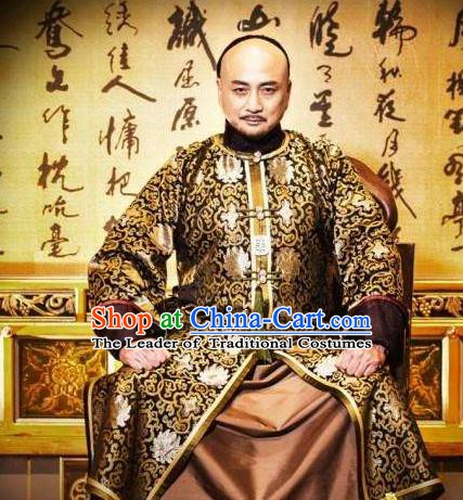 Chinese Ancient Yongzheng Emperor Historical Costume China Qing Dynasty Kaiser Embroidered Clothing