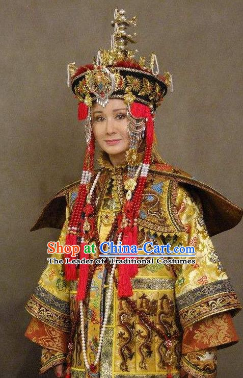 Chinese Ancient Empress Dowager Xiaozhuang Historical Replica Costume China Qing Dynasty Da YuEr Manchu Lady Clothing