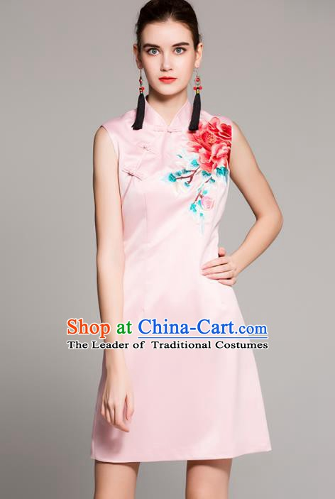 Chinese National Costume Tang Suit Pink Qipao Dress Traditional Embroidered Peony Cheongsam for Women