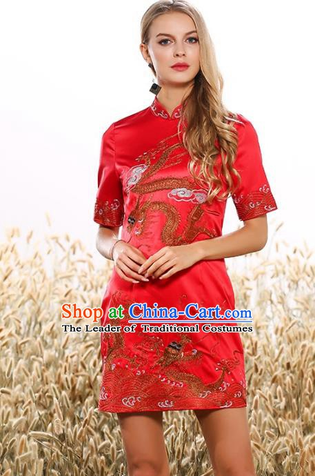 Chinese National Costume Tang Suit Red Qipao Dress Traditional Embroidered Dragon Cheongsam for Women
