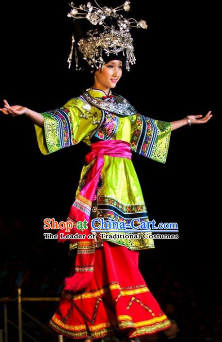 Traditional Chinese Miao Minority Nationality Dance Green Costume Hmong Female Folk Dance Dress for Women