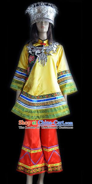Traditional Chinese Miao Minority Nationality Dance Yellow Costume Hmong Female Folk Dance Dress for Women