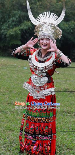 Traditional Chinese Miao Minority Nationality Wedding Costume Hmong Bride Folk Dance Red Dress for Women