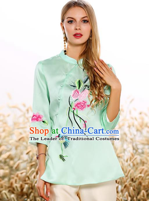 Chinese National Costume Tang Suit Qipao Green Blouse Traditional Embroidered Peony Shirts for Women