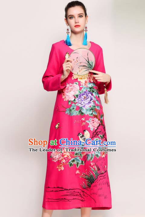 Chinese National Costume Tang Suit Pink Qipao Dress Traditional Embroidered Peony Flowers Cheongsam for Women