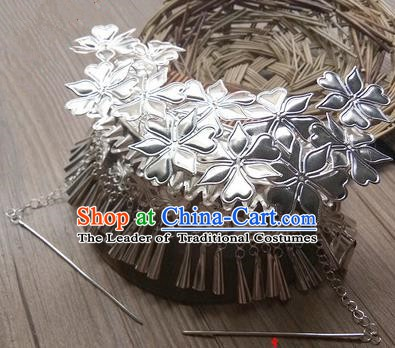 Traditional Chinese Miao Nationality Hair Accessories Sliver Hairpins Hmong Tassel Hair Comb Headwear for Women