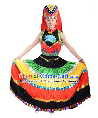 Traditional Chinese Yi Nationality Dance Costume, Female Folk Dance Ethnic Minority Red Pleated Skirt for Women