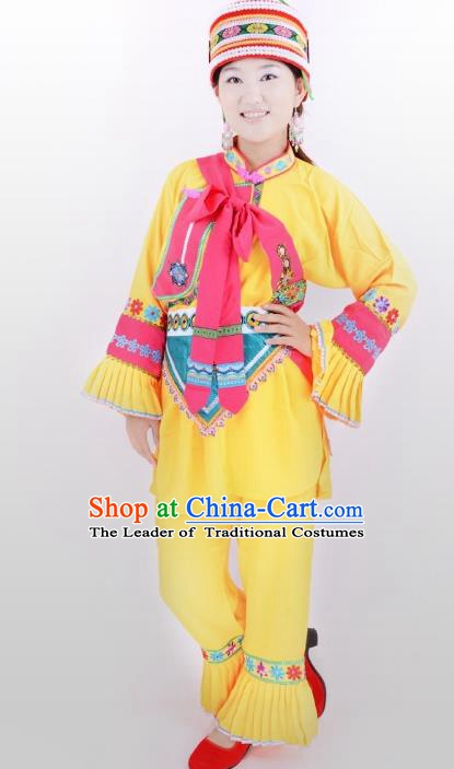 Traditional Chinese Sani Nationality Minority Dance Yellow Costume, Female Folk Dance Yi Ethnic Clothing for Women