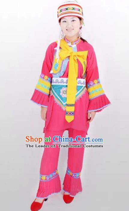 Traditional Chinese Sani Nationality Minority Dance Pink Costume, Female Folk Dance Yi Ethnic Clothing for Women