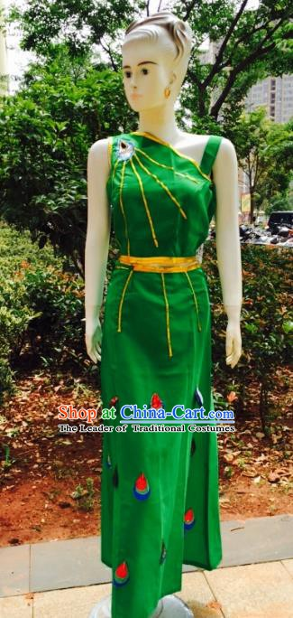 Traditional Chinese Dai Nationality Peacock Dance Costume, Folk Dance Ethnic Pavane Dance Green Dress for Women