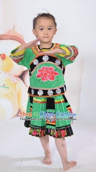 Traditional Chinese Yi Nationality Dance Embroidery Costume, Folk Dance Ethnic Dance Green Dress for Kids