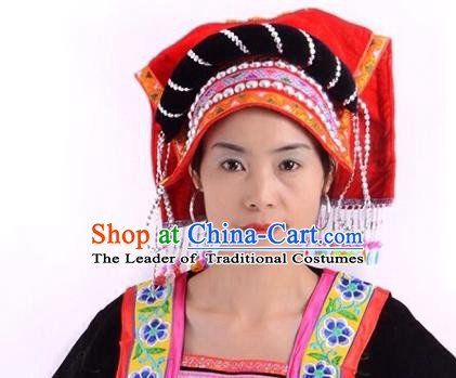 Traditional Chinese Yi Nationality Hair Accessories Female Cloth Hats Yi Ethnic Minority Headwear for Women