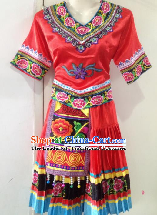 Traditional Chinese Yi Nationality Minority Dance Red Dress, Female Folk Dance Yi Ethnic Clothing for Women