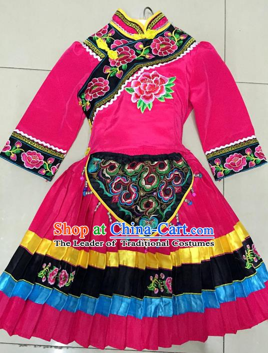 Traditional Chinese Jingpo Nationality Dance Costume Folk Dance Ethnic Rosy Dress Clothing for Kids