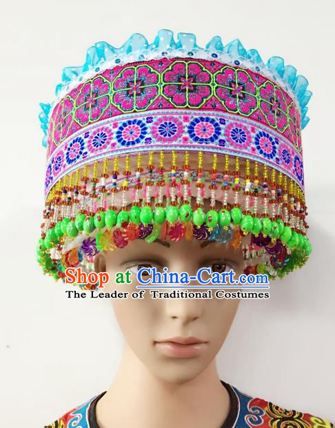 Traditional Chinese Yi Nationality Beads Tassel Hats Hair Accessories Ethnic Headwear for Women