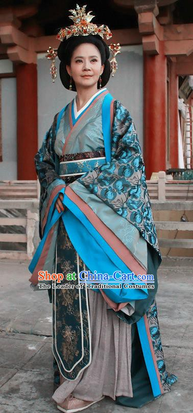 Ancient Chinese Traditional Han Dynasty Queen Mother Wang Hanfu Dress Replica Costume for Women