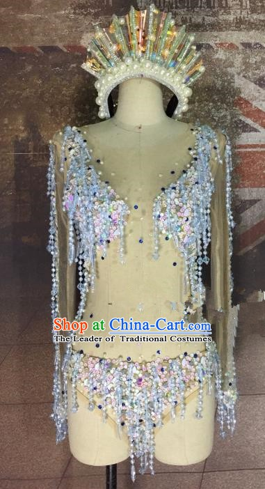 Model Dance Costumes Popular Catwalks Tassel Bikini Stage Drama Parade Costume and Headwear Complete Set