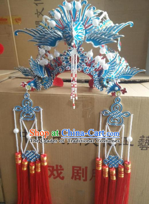 Traditional Chinese Beijing Opera Wedding Hair Accessories Bride Phoenix Coronet Ancient China Peking Opera Hats Headwear